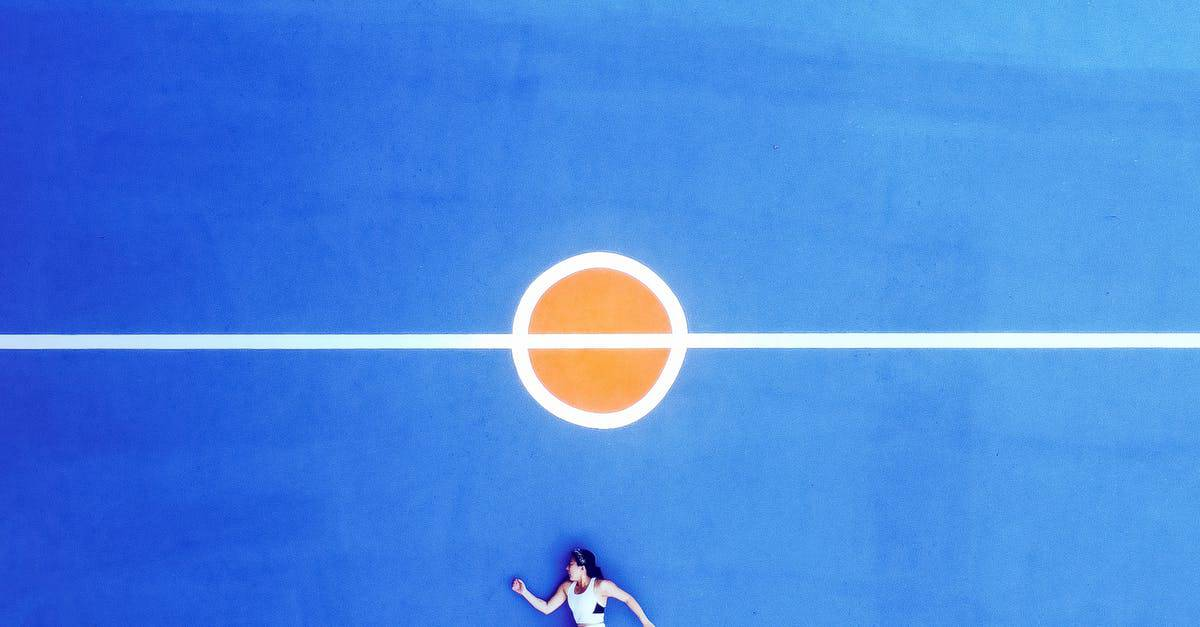 A blue ball on the court